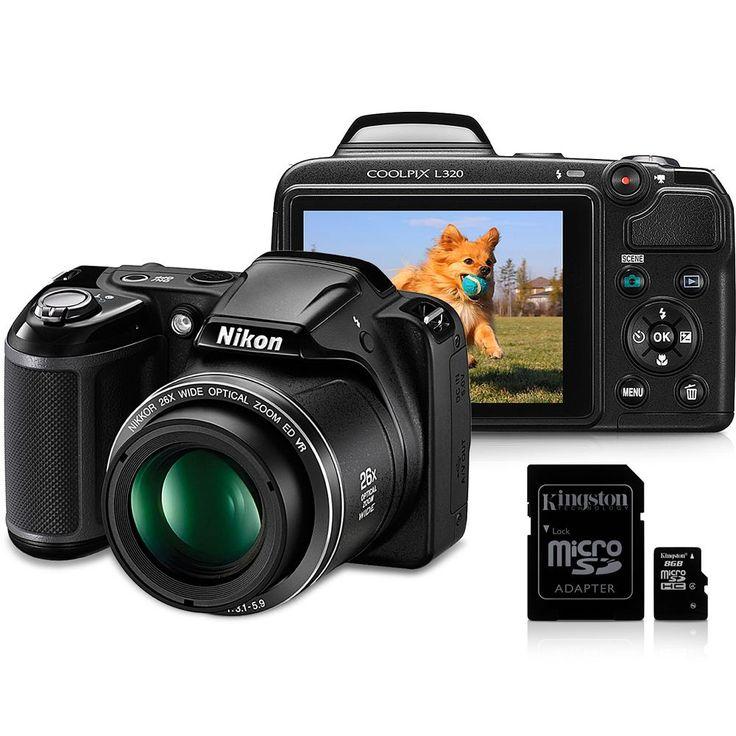 """Câmera Digital Nikon Coolpix L320 - Preta - 16.1 MP - LCD 3.0"""" - Zoom ótico 26x - Estabilização de Imagem VR + Cartão de 4GB e 8GB Kingston -Câmeras e Filmadoras - Semi-profissionais - Walmart.com"""