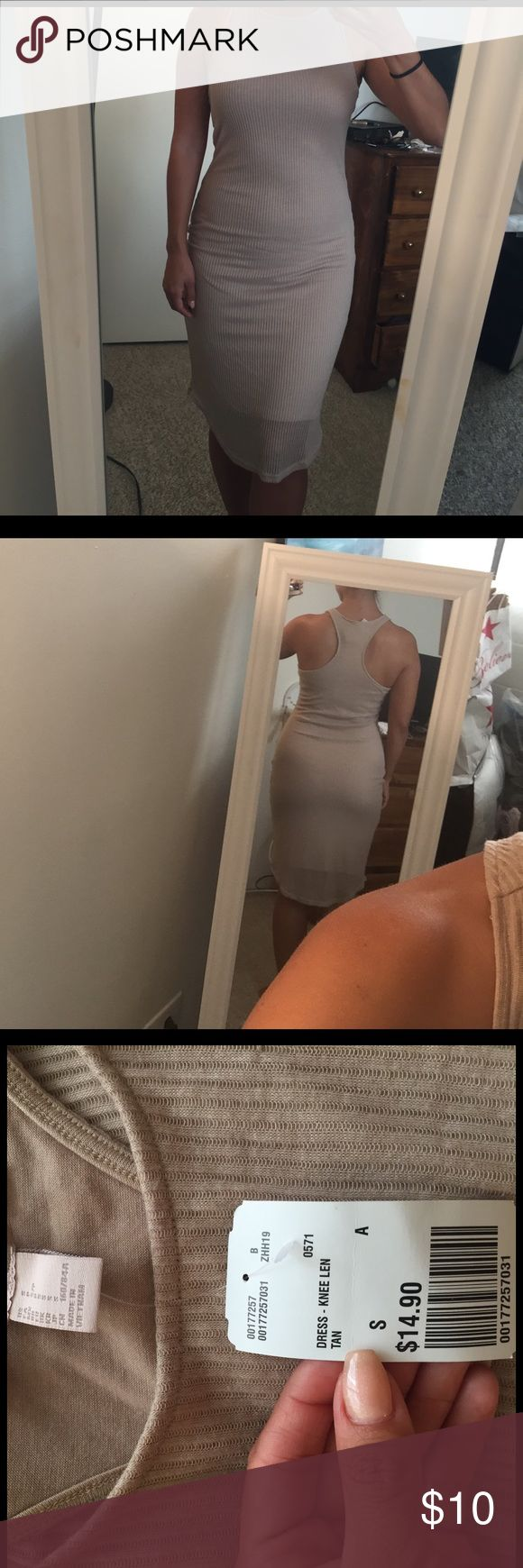 Nude long dress NWT forever 21 dress, size small. Flattering on curves Forever 21 Dresses Maxi
