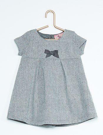 Robe en lainage motif chevrons gris clair Bébé fille - Kiabi