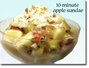 10-Minute Apple Sundae: Almonds Butter, Slices Almonds, Grateful Coconut, Apples Sundaes, Almonds Extract, Maple Syrup, 10 Minute Apples, Tbs Almonds, Apple Sundae