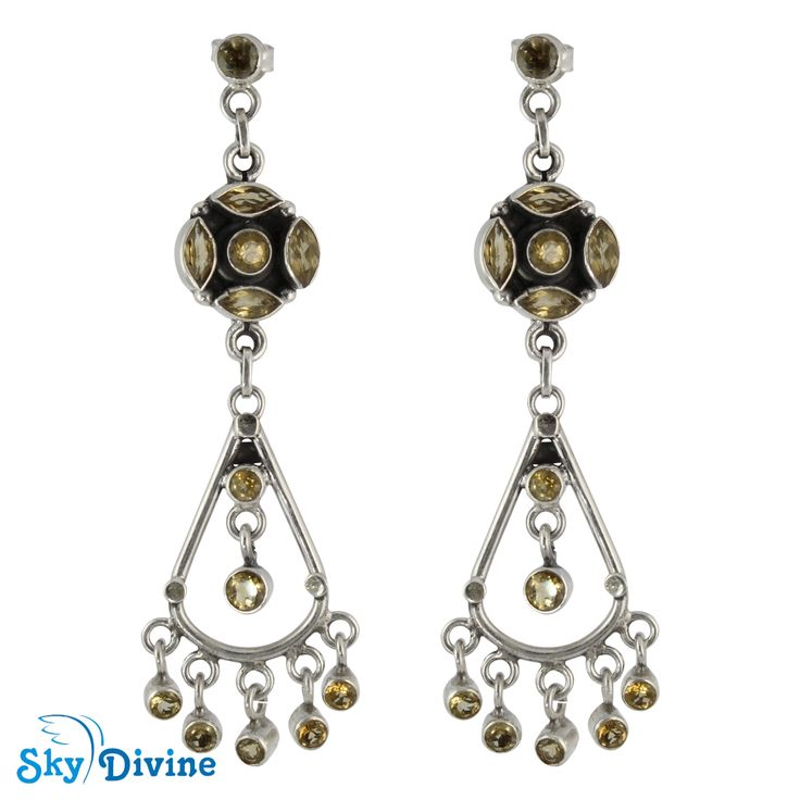 925 Sterling Silver Citrine Earring SDAER25b | Sky Divine Jewellery, $111.44