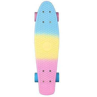 mini compleet skateboard plastic cruiser standaard skate board vrachtwagens bijna 22 inches / blauw geel roze met ABEC-11 lagers – EUR € 39.19
