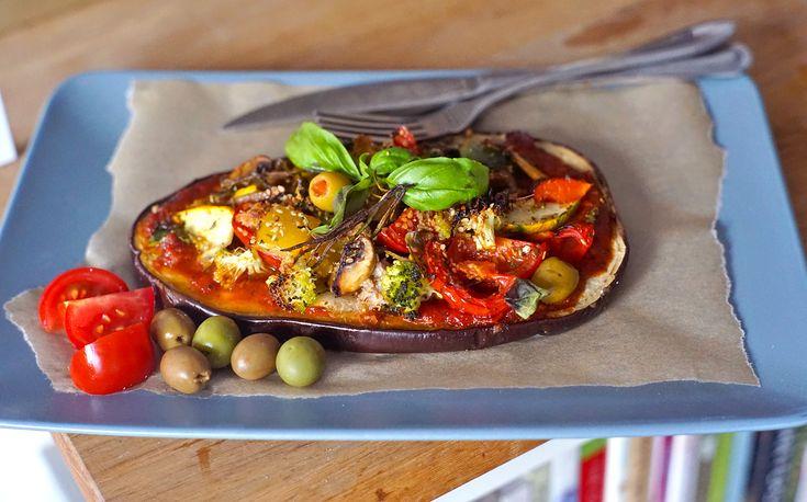 Letní lilkové pizzy se zeleninou | Veganotic