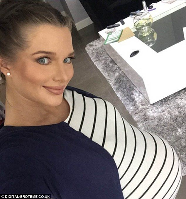 Any day now: Helen Flanagan showed off her baby bump in a selfie snap on Saturday morning...