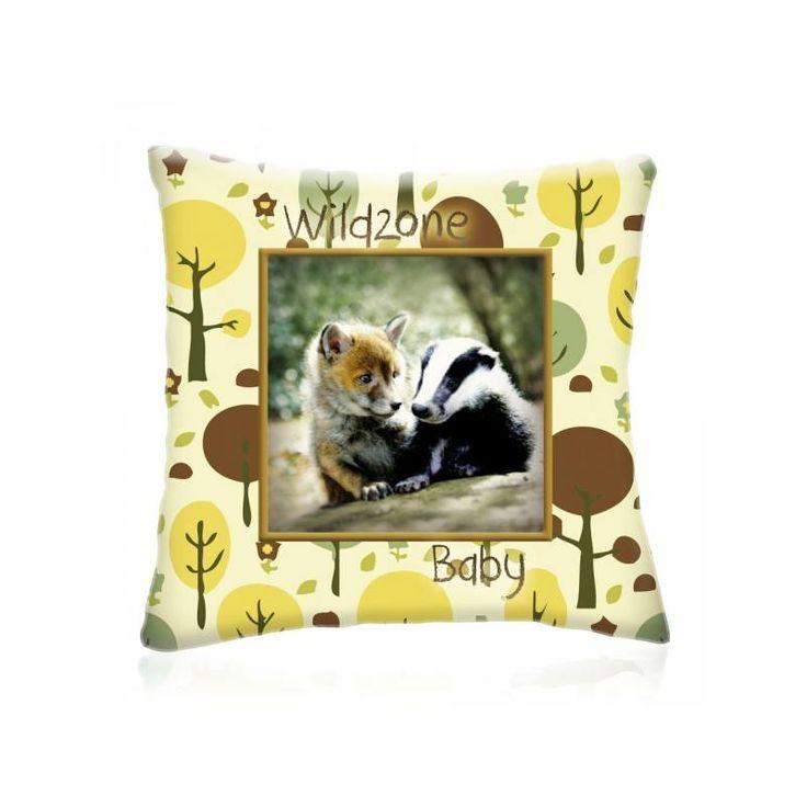 WILD ZONE Baby RÓKA és BORZ állatos díszpárna 28x28 cm - Díszpárna.com Webáruház