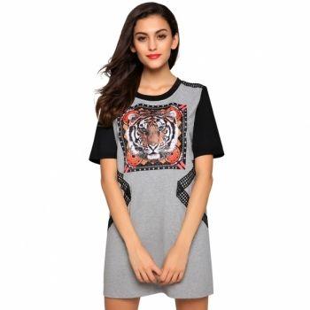 Finejo Stylish Women Casual Lace Decoration Short Sleeve Round Neck T-shirt Tops