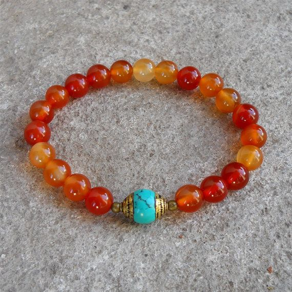 stability - Carnelian and capped turquoise genuine gemstone yoga mala bracelet, yoga jewelry