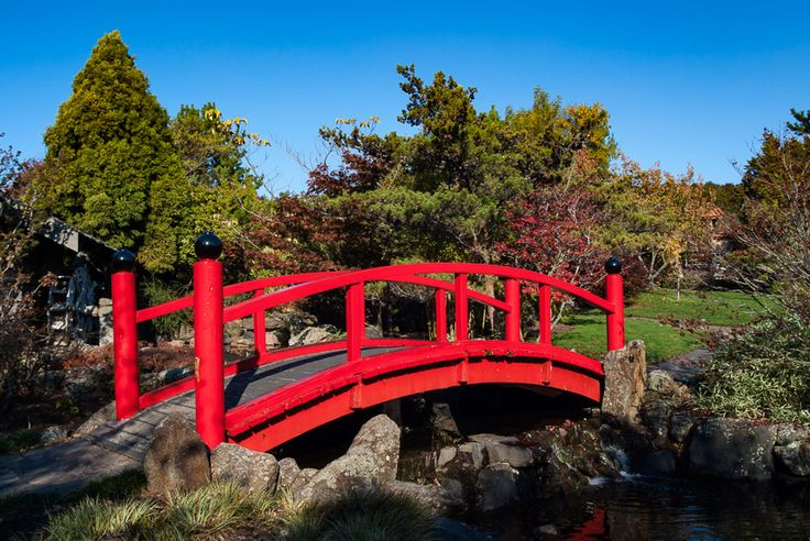 The red bridge in the Japanese section of Hobart's Royal Botanical Gardens