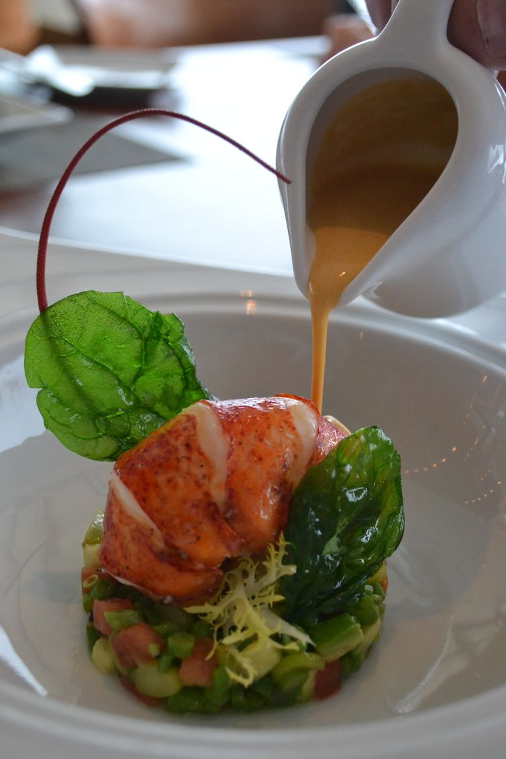 Fine dining #LuxuryLiberated @TheJamesHotel  Nemacolin's Aqueous Restaurant - Aqueous Lobster Soup and Salad
