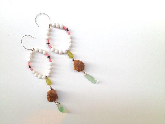 Tribal Ethnic Chic Dangle White Coral Earrings  by InesAnaisRain