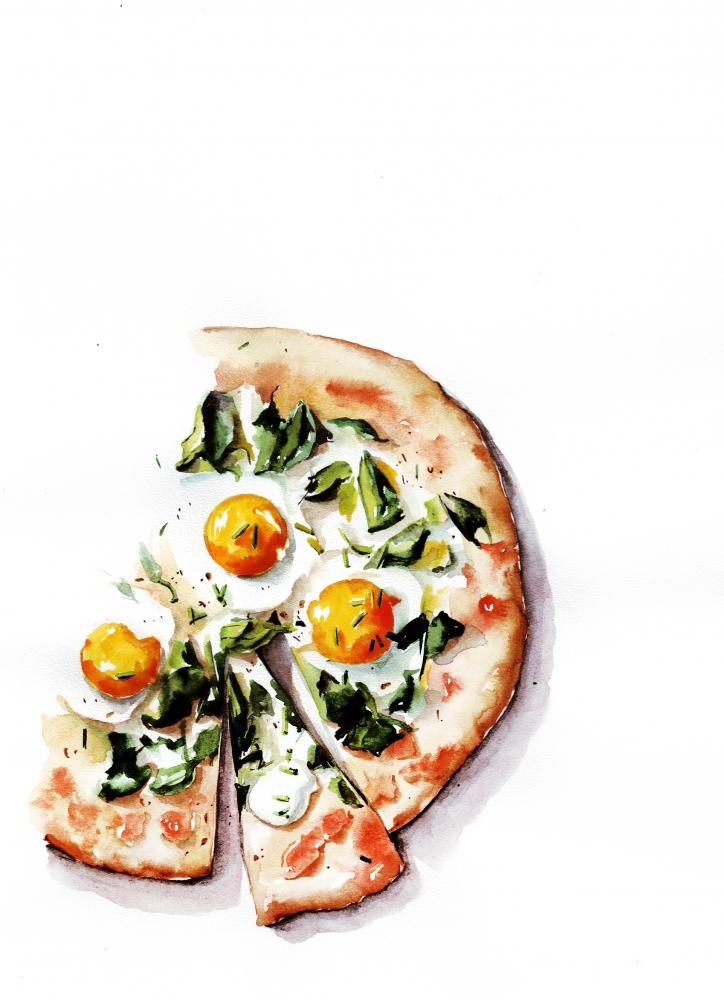 Love this half finished pizza. Beautiful Watercolor food | Malikova Darya