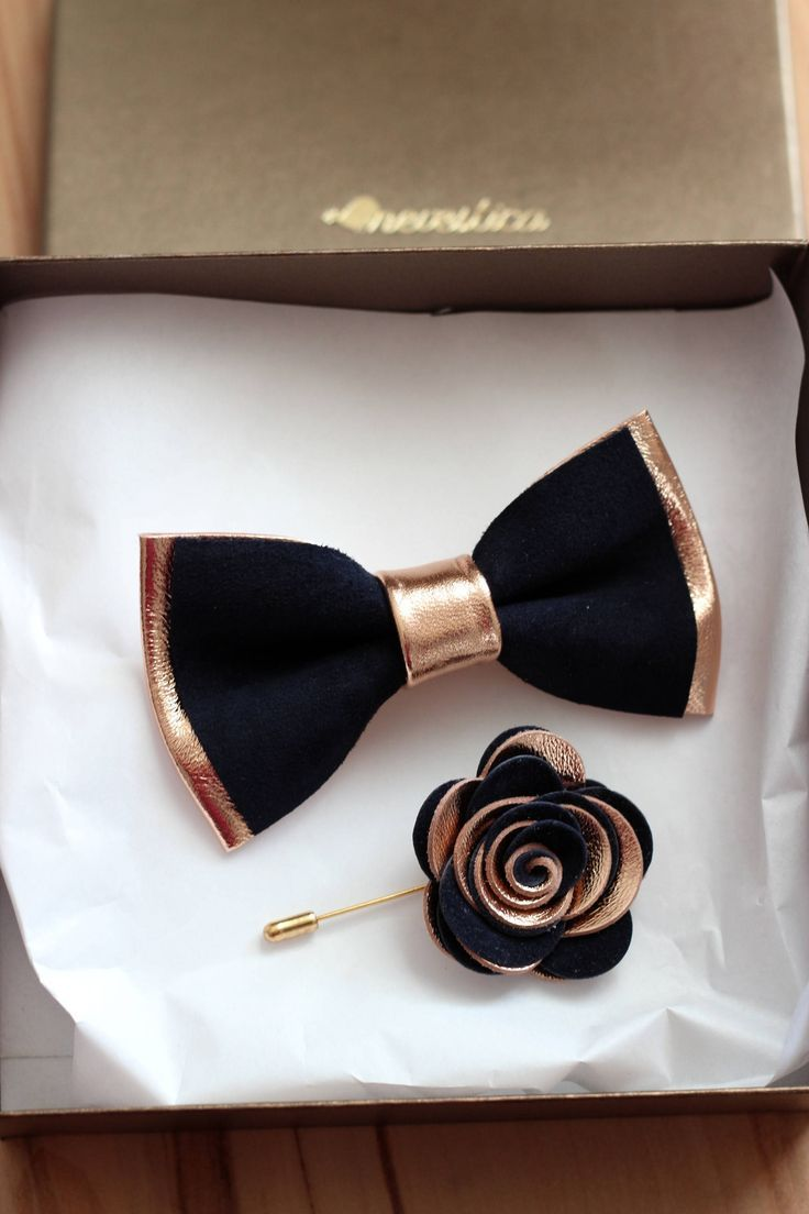 Rose Gold Navy Blue Leather Bow Tie For Men Rose Gold Wedding Etsy Leather Bow Tie Gold Bow Tie Leather Bows