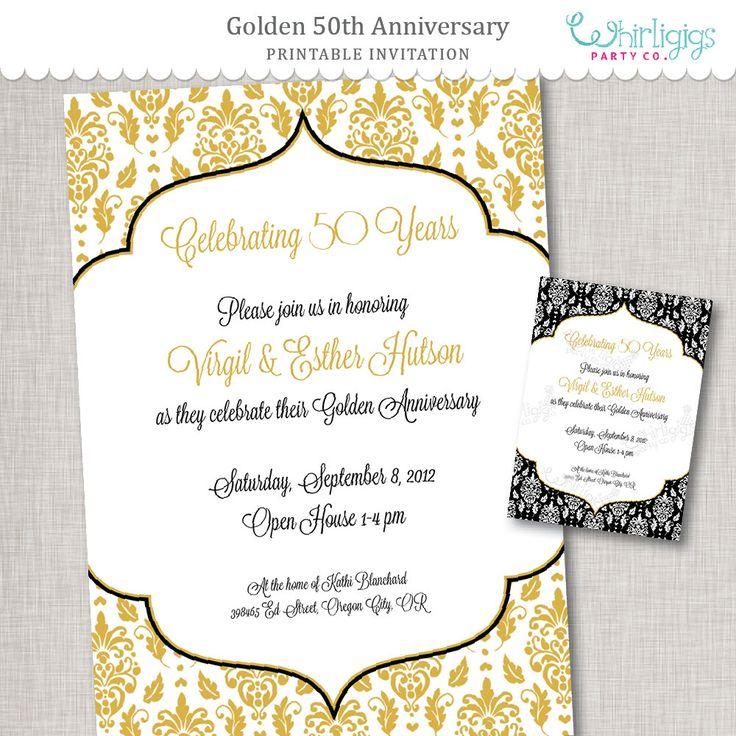 50 aniversario invitación de oro aniversario por whirligigspartyco
