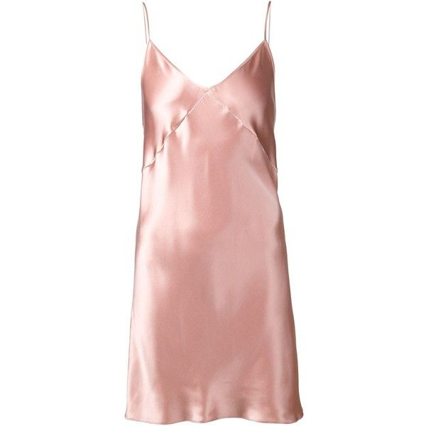 Fleur Du Mal Bias Cut Slip ($245) ❤ liked on Polyvore featuring dresses, intimates, silk slip, fleur du mal y pink slip