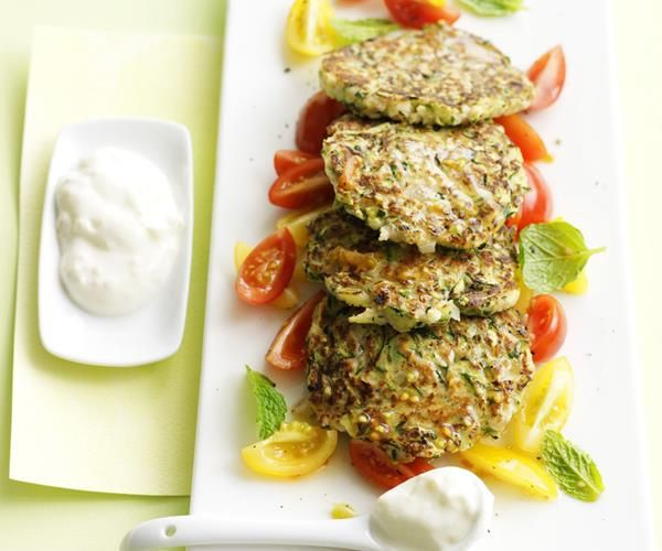 Zucchini fritters with tomato mint salad recipe | FOOD TO LOVE