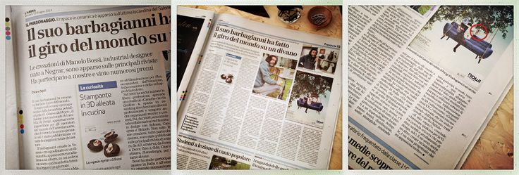 The oldest newspaper of Italy talks about what I do. Today, from L'Arena di Verona. Manolo Bossi / Design Studio