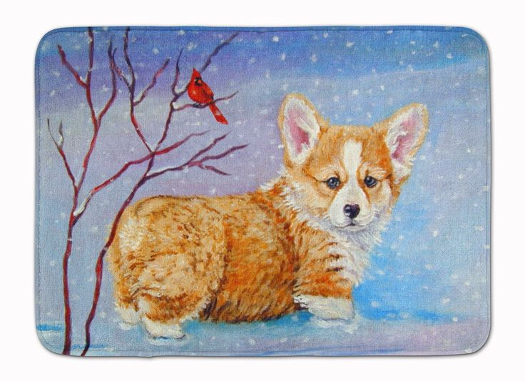 Corgi Pup Snow Cardinal Machine Washable Memory Foam Mat 7327RUG