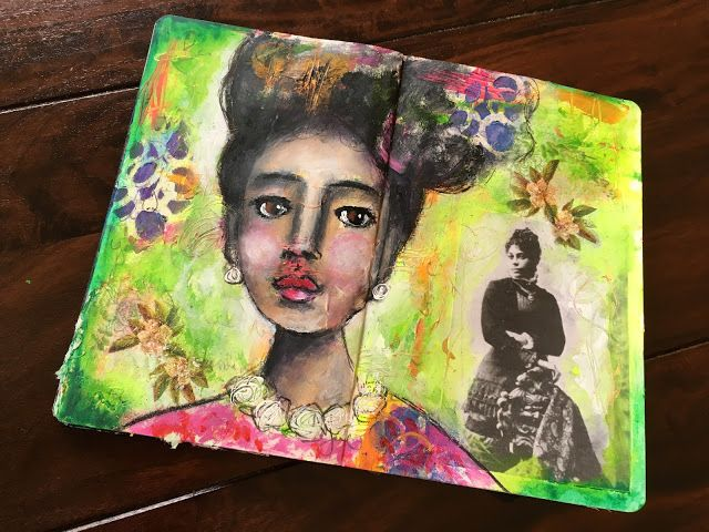 """""""Letter to A Beautiful Lady"""" mixed media art journal spread by Sharon Harkness-Dobler"""