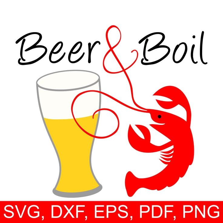 Crawfish Beer & Boil SVG file and printable clipart to make Crawfish Boil invites