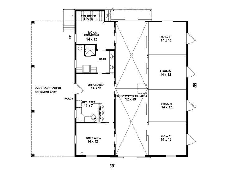 Floor plan stable i could see this adapted for our rv and for Horse barn layouts floor plans