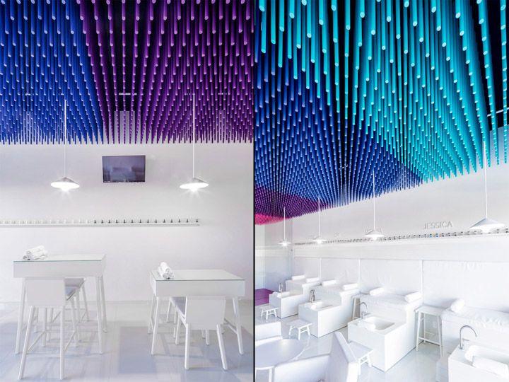 Дизайн маникюрного салона: абсолютно белые элементы мебели