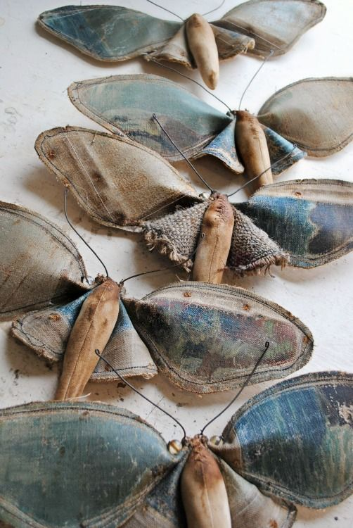 Textile moths by Mister Finch. Makes me want to make some and stuff them with lavender to put in my closets.: