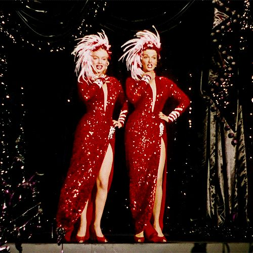 Marilyn Monroe and Jane Russell in Gentlemen Prefer Blondes | 23 Classic Hollywood GIFs That Are Better Than A Time Machine
