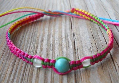 Handmade Free Size Multicolor Wax String Beaded Bracelet or Anklet   pavlos - Jewelry on ArtFire