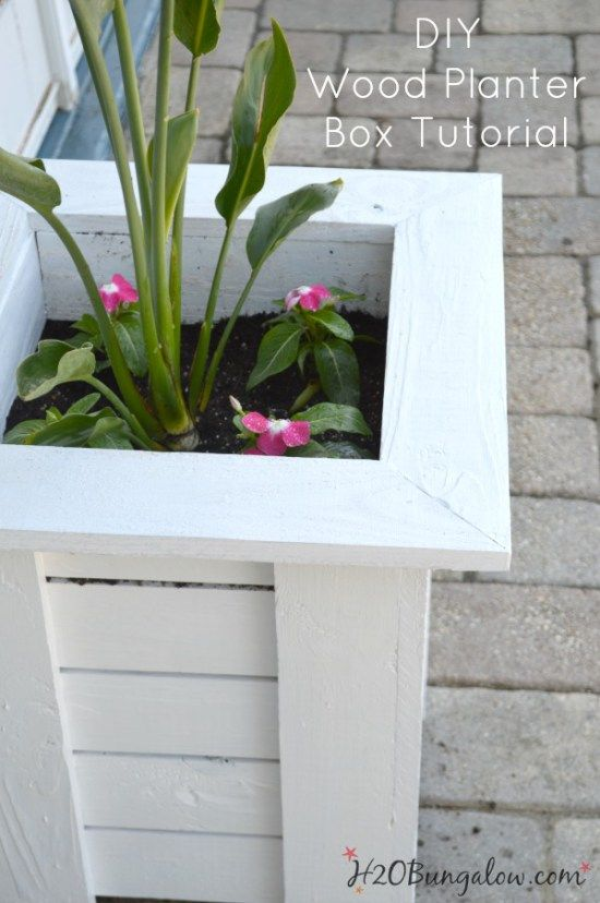 Simple DIY tutorial to make a Key West Style wood planter box for much less than it would cost to purchase! See the rest of the Power Tool Challenge Team's spring projects linked up here too. #powertoolchallengespring H2OBungalow