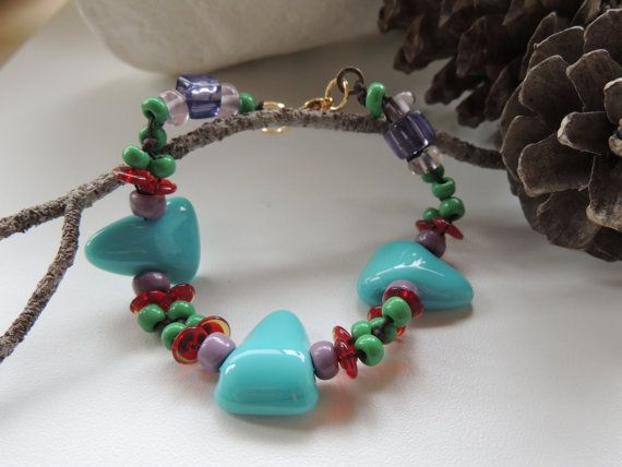 beaded bracelet fused glass triangle by Homeforglasslovers on Etsy