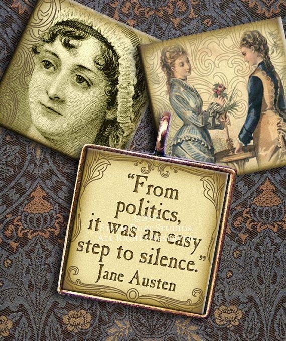 Jane Austen Victorian Literature  1 x1 inch by steamduststudios