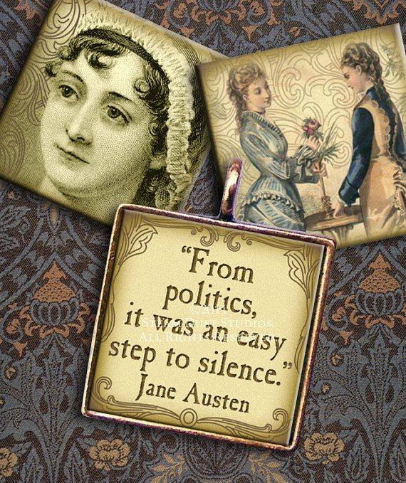 Jane Austen Victorian Literature  1 x1 inch by steamduststudios