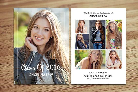 Senior Graduation Announcement Template | Graduation Invitation Card | Photoshop and Elements...