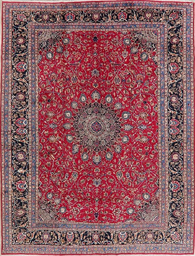 Floral Vintage Persian Kashmar Oriental Area Rug Handmade Wool Medallion Red Carpet 10 X 13 Dining Room 9 In 2020 Oriental Area Rugs Handmade Area Rugs Handmade Rugs