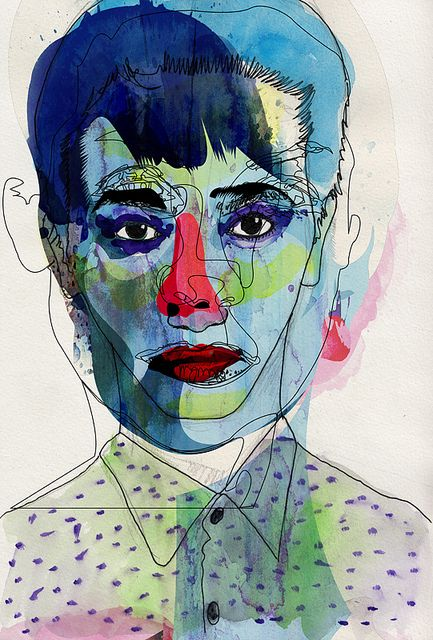 Blue by Alvaro Tapia Hidalgo I like this idea of layering faces - color under line... pattern?  Self with other?