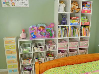 Organizing toys in a girls room. Blog post has details on what is in each bin and how they came up with the system.