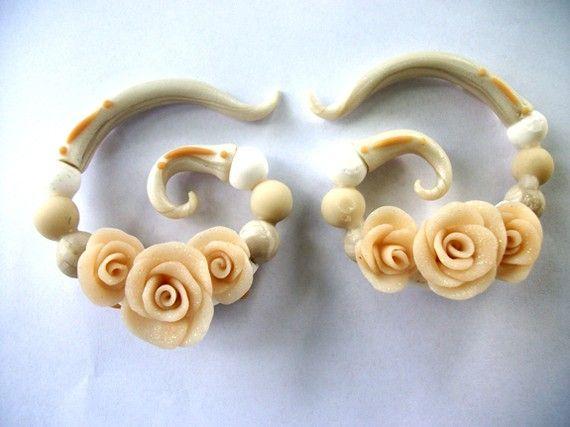 Victorian polymer clay Ear Gauges by Mariahssassyfashions on Etsy, $27.00