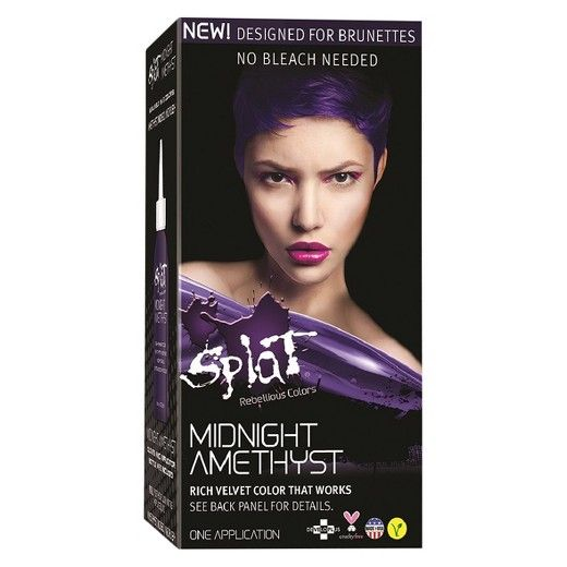 Splat Midnight collection is a semi-permanent fantasy hair color that is easy to apply. Formulated for brunettes it conditions your hair while you color and there is NO BLEACH necessary! Go from boring to fabulous with this all in one kit in just minutes! Splat midnight collection leaves your hair looking and feeling fresh and bright! Try this kit today exclusively at target and target.com.