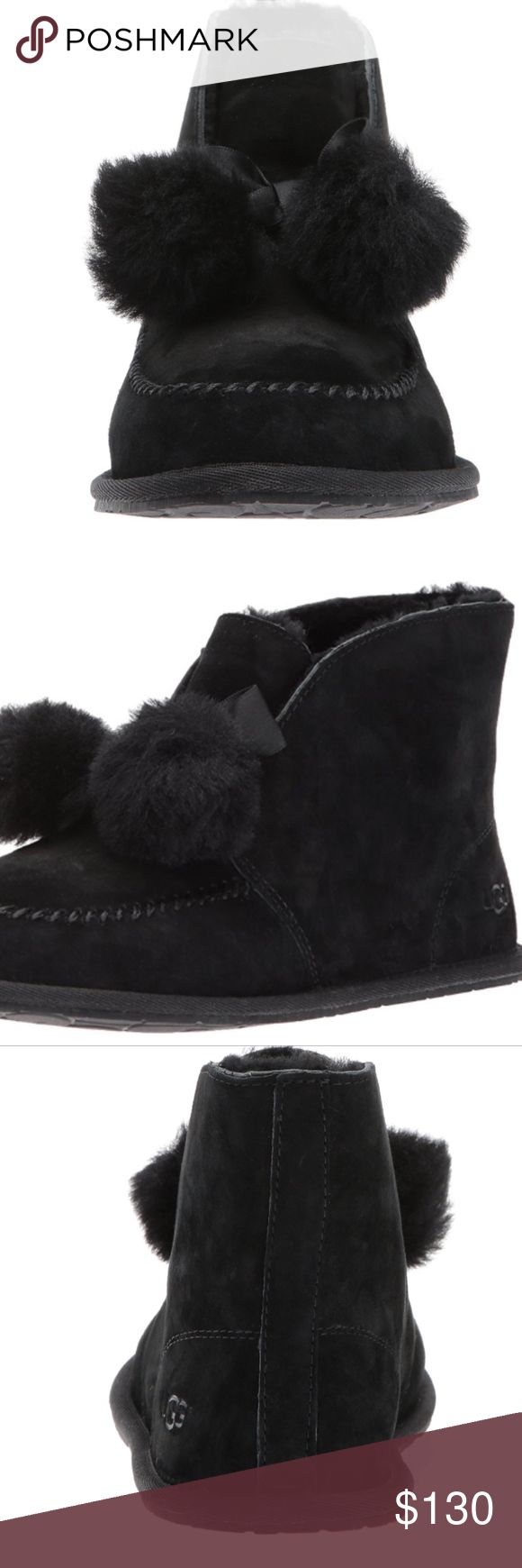 UGG Women's Kallen Slouch Boot Slipper with water resistant suede and sheepskin pom poms UGG Shoes Ankle Boots & Booties
