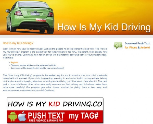 How is my kid driving push text app my tag and two bumper stickers