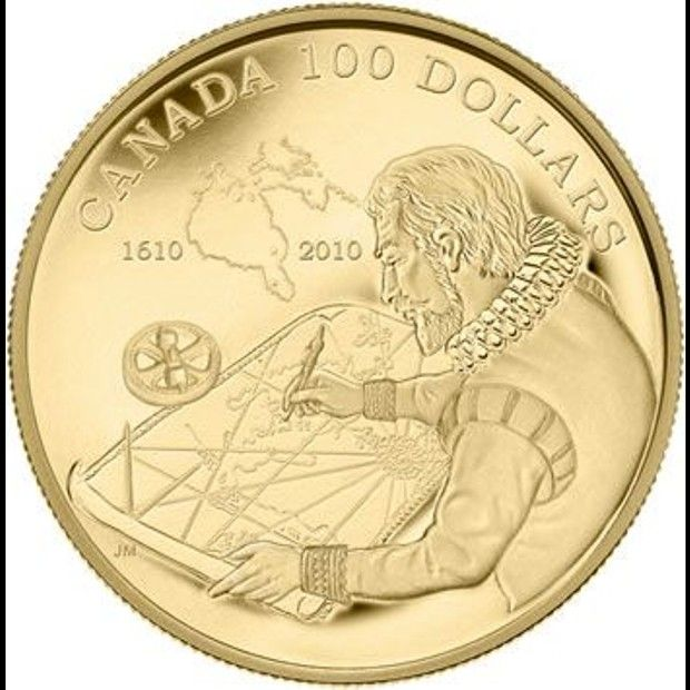 Coolest Canadian coins | 400th Anniversary of Hudson Bay. This carefully crafted $100 gold coin commemorates Canada's history and took the 2012 prize for Most Historically Significant Coin at the Karusse Publications 2012 Coin of the Year Awards. (Source: The Royal Canadian Mint)