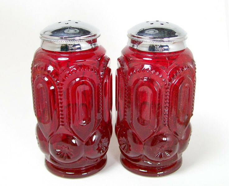Red Depression Glassware | pair of vintage, red depression glass salt and pepper shakers with ...