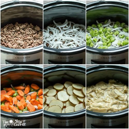 Slow Cooker Six Layer Dinner *I didn't have Cream of Celery, used Cream of Mushroom.  Kevin liked, I didn't really