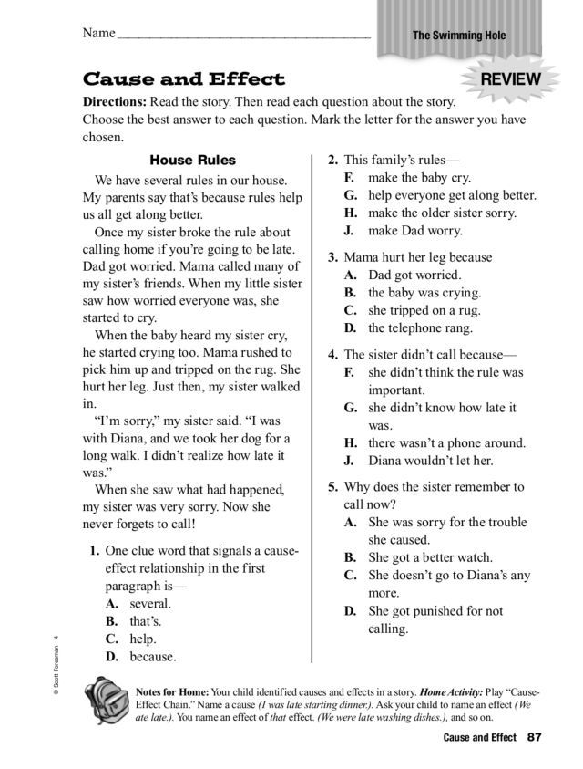 Reading For Comprehension Cause And Effect Worksheets School And