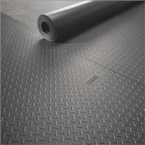 Gray diamond tread rubber flooring