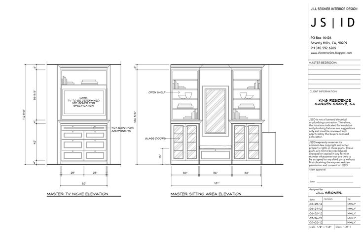 Garden grove ca residence master bedroom custom built ins detailed elevation drawings revised Master bedroom plan dwg