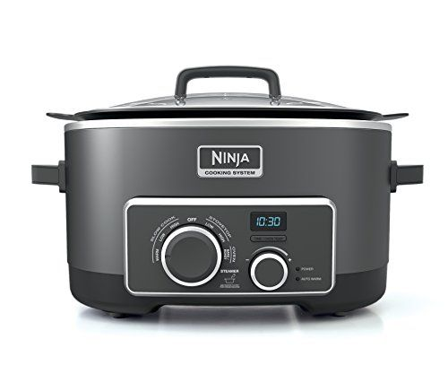 Ninja 4-in-1 Cooking System (Slow Cooker, 6-Quart Nonstick Pot, Multi-Cooker) MC950Z  1 pot with 4 cooking functions: Stove Top, Slow Cook, Oven, and Steam.  Unique heating elements let you sear, sauté, and slow cook-all in one pot-for easy cleanup.  Bake in oven mode. Dry Bake for chicken and roasts, and Steam Bake for delicious, moist cakes.  Steam delicious and healthy vegetables, fish, and other delicate foods.  Includes: 6 qt. nonstick cooking pot, glass lid, steaming/roasting rac...