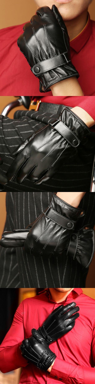 Men's Classical 3-line Smart Touch Screen Gloves Genuine Lambskin Leather Fleece Lined Black