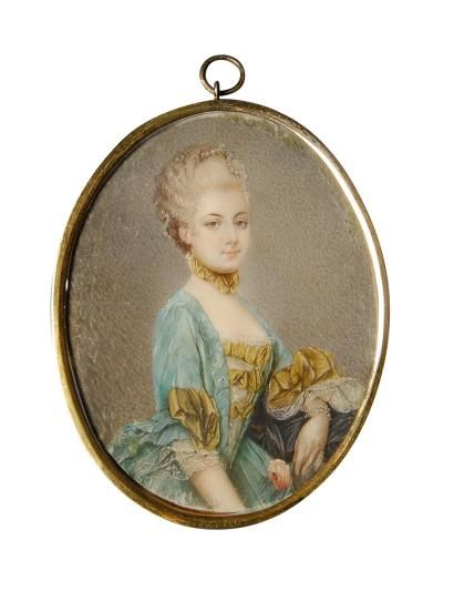 A portrait of Marie Antoinette in 1769, after a painting by Joseph Ducreux.