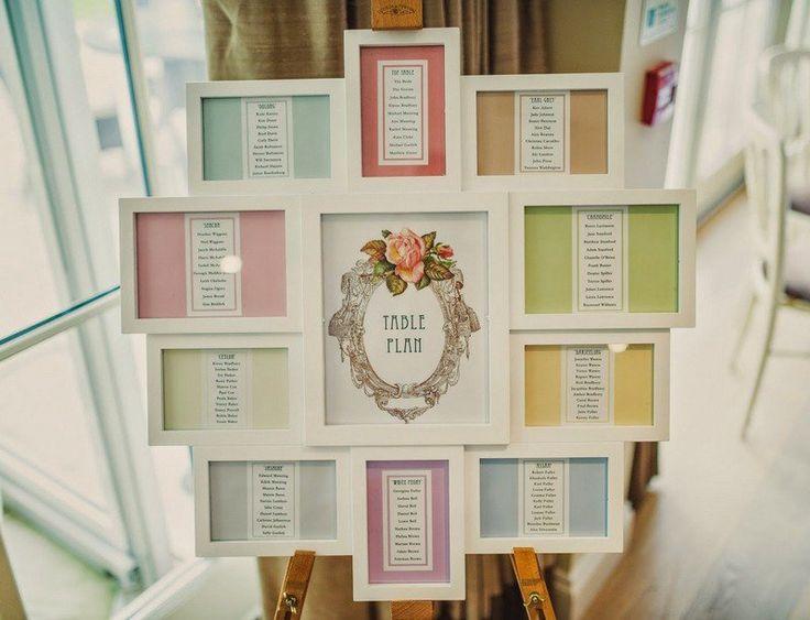 ide plan de table mariage chic avec liste des invits sur fond pastel - Thankyou Liste De Mariage